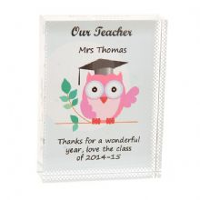 Teacher Owl Crystal - Personalised Teacher Thank You Gift